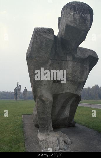 Latvia Riga Salispils Memorial World War II Two German concentration camp location dramatic statue - Stock Image