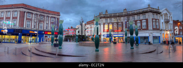 Public art in Warrington Town Centre at dusk panorama, by Howard Ben Tre - Stock Image