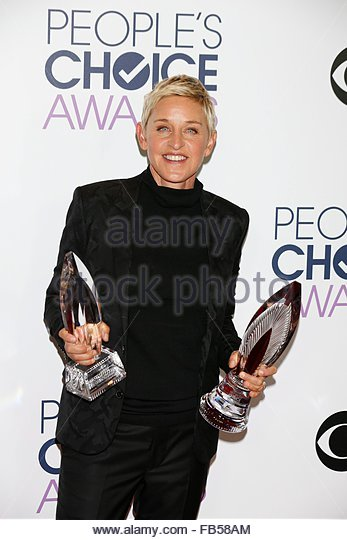 epa05091136 US TV personality Ellen DeGeneres poses in the press room of the 2016 People's Choice Awards at - Stock Image