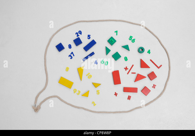 Geometric shapes and mathematics in speech bubble - Stock Image