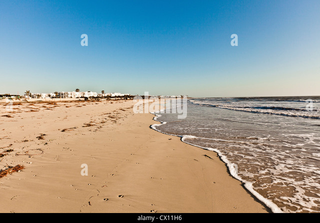 Beach on island of Djerba, Tunisia - Stock Image