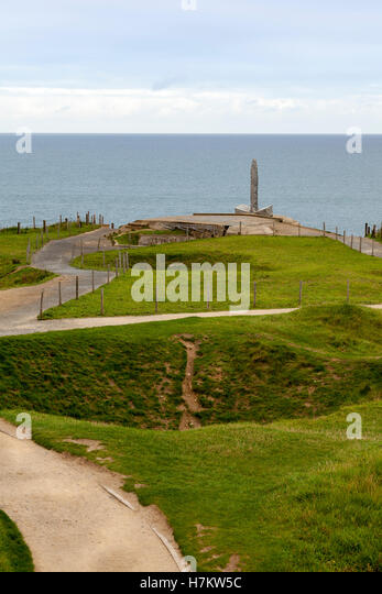 The Normandy Beach memorial at Pointe Du Hoc, Normandy, France. - Stock Image