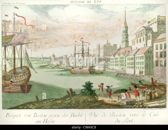 The American Revolution, Vue de Boston. Prospect von Boston gegan der Bucht am Hasen Vue de Boston vers le Cale - Stock Image