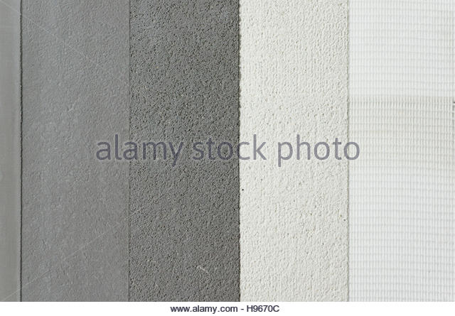 micro cement application layers above tile - Stock Image
