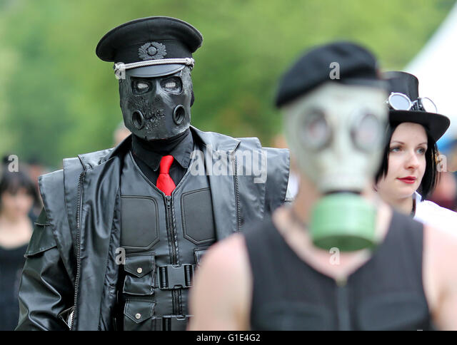 Leipzig, Germany. 13th May, 2016. Thomas from Chemnitz (c) at the Wave-Gotik-Treffen (WGT) in Leipzig, Germany, - Stock Image
