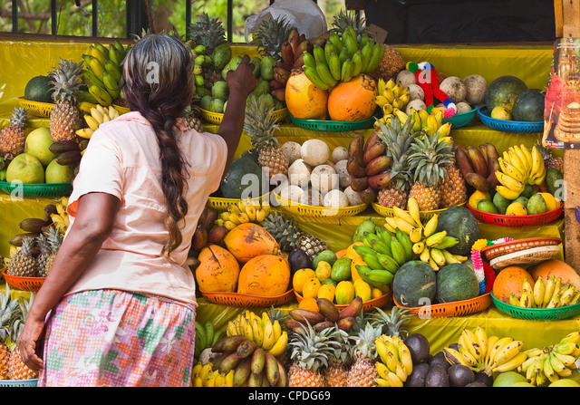 Temple fruit offerings for sale in this sacred pilgrimage town, popular with all religions, Kataragama, Uva Province, - Stock Image