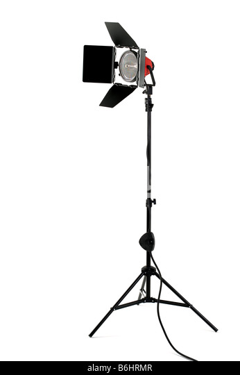 Redhead stage light with barndoors on a stand isolated on a white background - Stock-Bilder