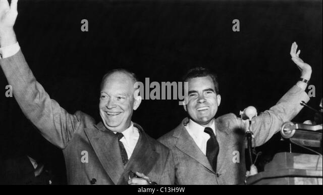 US Presidents. Republican candidate for US President (and future President) Dwight D. Eisenhower and Senator and - Stock Image