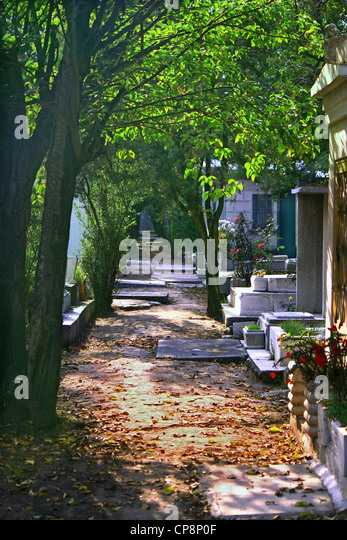 Garden path in cemetery with overhanging trees and fallen leaves on path amongst the tombs and grave markers. - Stock Image