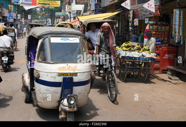 Traffic, Old City, Varanasi, Uttar Pradesh, India, Asia. Varanasi, Uttar Pradesh, India. Varanasi is the most chaotic - Stock Image