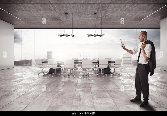 Businessman organizes a meeting - Stock-Bilder