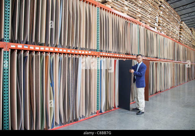 Manager holding plywood in warehouse - Stock Image