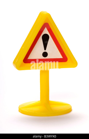 Plastic toy warning sign - Stock-Bilder