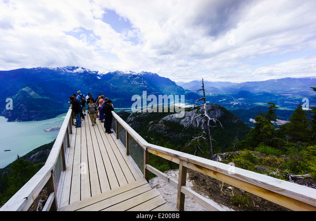 Chief Overlook Viewing Platform, Sea to Sky Gondola, Squamish, British Columbia, Canada. - Stock Image