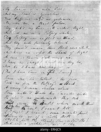 Samuel Taylor Coleridge -  page from  the manuscript of the English poet's poem 'Christabel'. 21 October - Stock-Bilder