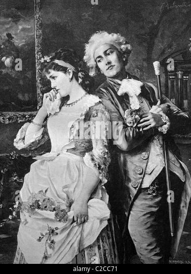 Bashful couple, historical illustration, ca. 1893 - Stock Image