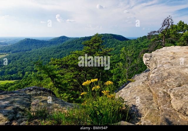 View from Indian Fort Lookout in Berea College Forest in Madison County, Kentucky - Stock Image