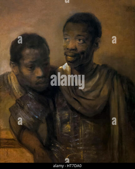 Two Moors, by Rembrandt, 1661, Royal Art Gallery, Mauritshuis Museum, The Hague, Netherlands, Europe - Stock Image