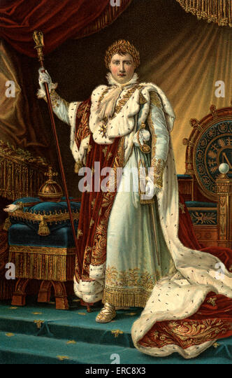 DECEMBER 2 1804 NAPOLEON I CORONATION ROBES LOOKING AT CAMERA BECOMES EMPEROR OF FRANCE AT NOTRE DAME PARIS BY FRANCOIS - Stock-Bilder