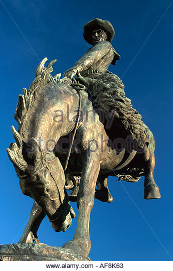 Colorado Civic Center Park Bronco Buster statue - Stock Image