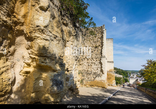 Details of rock face and chateau's stone walls - France. - Stock Image