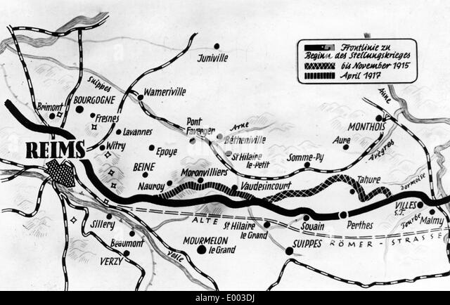 Map with the frontline of the Battles of Aisne and Champagne, 1917 - Stock Image