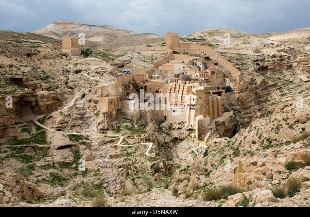 Marsaba monastery in the Judean desert in Israel - Stock Image