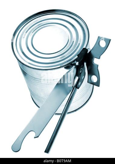 Tin with key isolated on white background - Stock Image