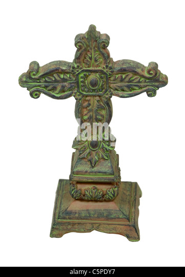 Antique stone cross representing religion and serving as a marker - path included - Stock Image