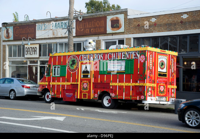 Food Truck parked on Abbot Kinney blvd. in Venice Beach, California - Stock Image