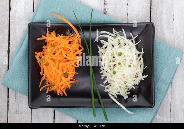 Carrot and Celeriac salad garnished with Chives - Stock Image