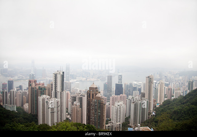 Hong kong, hong kong island, skyscrapers of central district - Stock Image