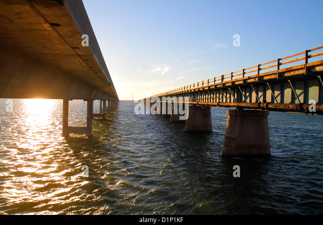 Florida Florida Keys US Route 1 One Overseas Highway Marathon New Old Sevenmile Seven Mile Historic Bridge Gulf - Stock Image