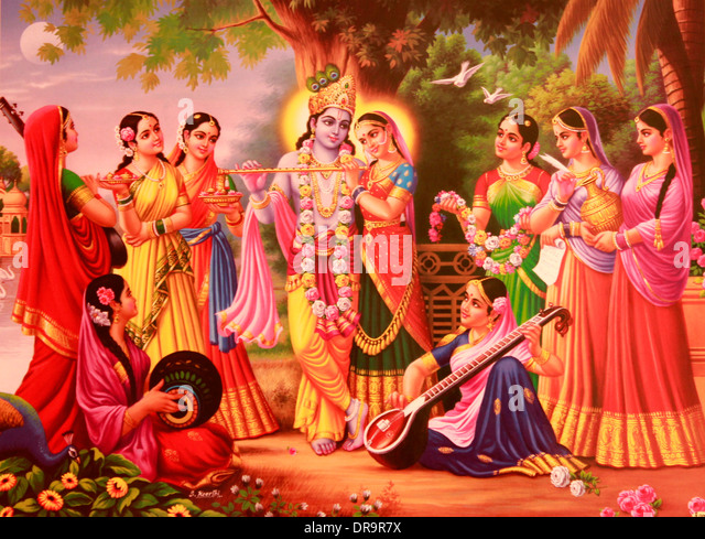 Depiction of hindu god krishna with Radha and gopis - Stock Image