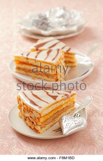 Three slices of Christmas marzipan tart - Stock Image