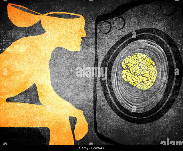 washing brain illustration concept - Stock Image