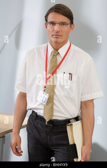 project manager in the suit of a meeting - Stock Image