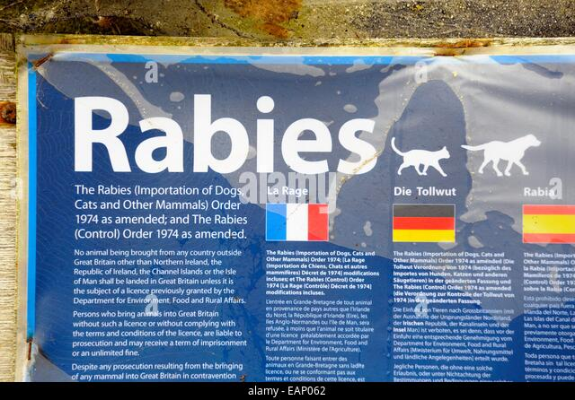 Rabies information sign england uk - Stock Image