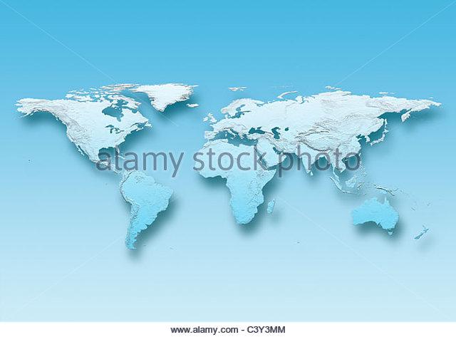 map, world, europe centered, physical, blue, - Stock Image
