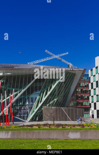 DUBLIN, IRELAND - April 21st, 2018: view of the Bord Gais Theatre and the Grand Canal Square in the renovated Dublin Docklands area - Stock Image