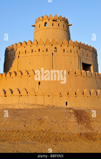 Tower of the Al Jahili Fort, Al Ain, Abu Dhabi, United Arab Emirates, Arabia, the Orient, Middle East - Stock Image