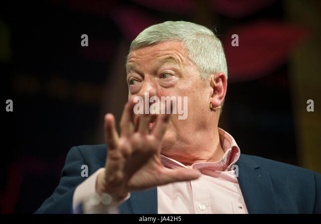 Alan Johnson Labour Party politician speaking about his life & career in politics on stage at Hay Festival 2017 - Stock Image