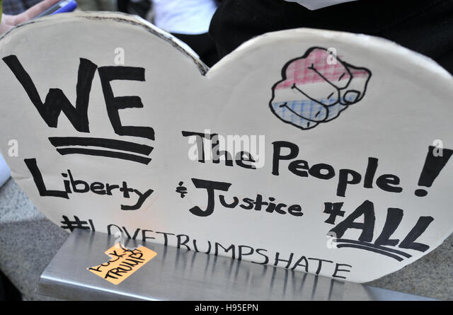 Philadelphia, Pennsylvania, USA. 19th November, 2016. Hundreds participate in ongoing Anti-Trump protests, on Nov. - Stock Image
