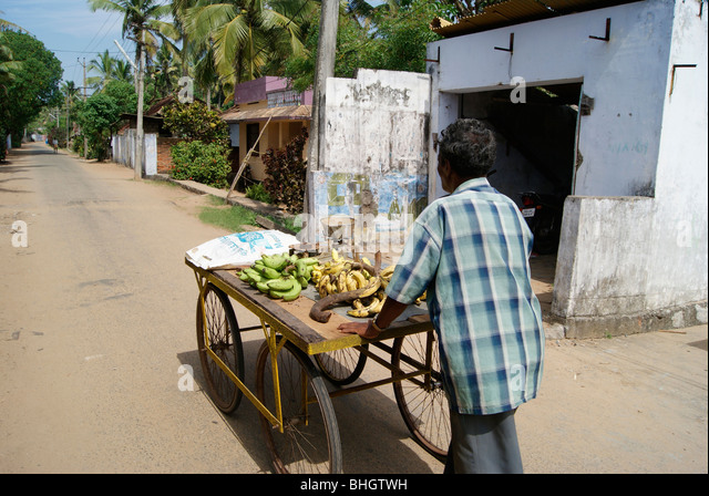Banana for Sale. A Poor Sales man Wandering along the Vast and Long Indian streets Pulling his wheels for Banana - Stock Image