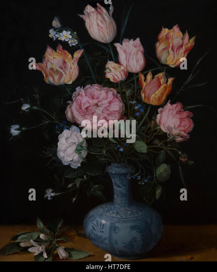 Flowers in a Wan-Li Vase, by Jan Brueghel the Elder, circa 1610-1615, Royal Art Gallery, Mauritshuis Museum, The - Stock Image
