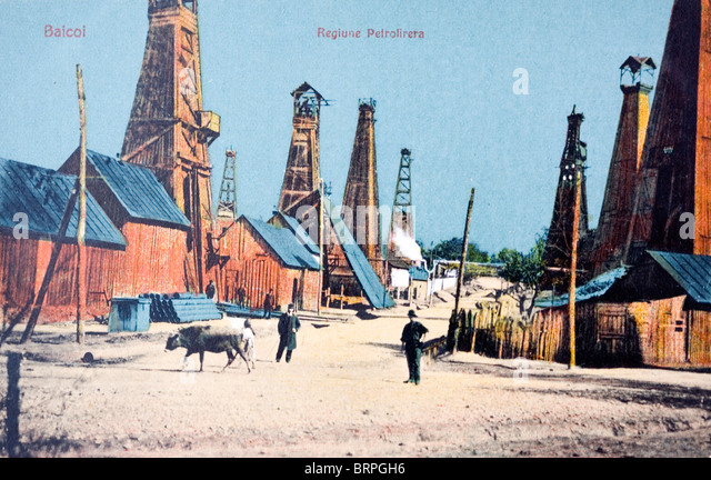 oil derricks peasants and a cow scene of the early romanian oil