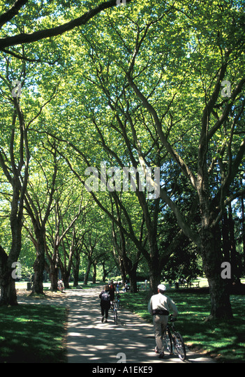 Vancouver Canada Stanley Park Cycle Path - Stock Image