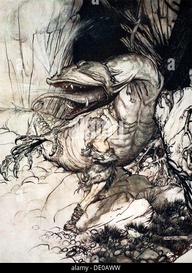 'Siegfried kills Fafner', 1924.  Artist: Arthur Rackham - Stock Image