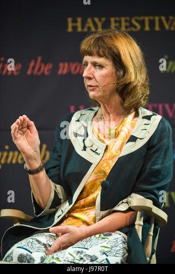 Keggie Carew winner of the Costa biography award for Dadland speaking on stage at Hay Festival 2017 Hay-on-Wye Powys - Stock Image