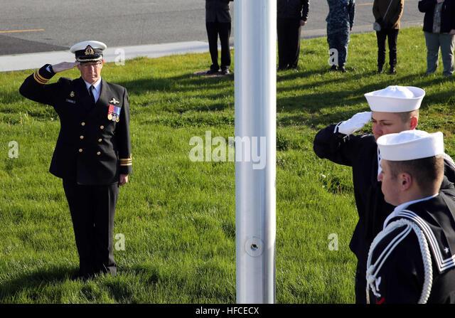 160425-N-DC740-041 OAK HARBOR, Wash. (April 25, 2016) Royal Canadian Navy (RCN) Lt. Cmdd. Graham Collins, commanding - Stock Image